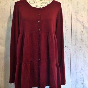 Apt.9 burgundy button front sweater
